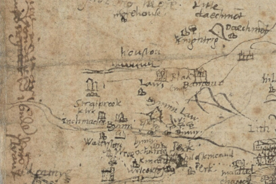 Timothy Pont's map of West Lothian and Linlithgow