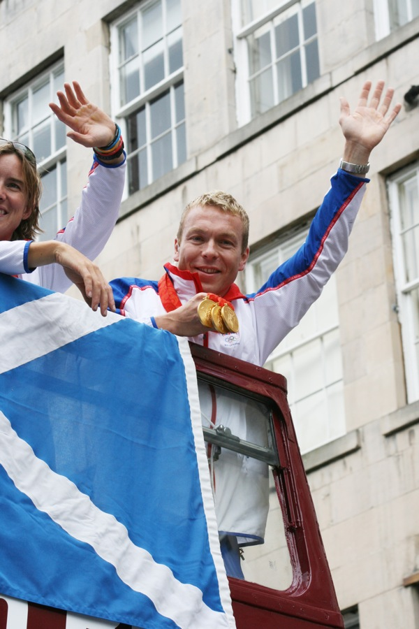 Chris Hoy with his gold medals