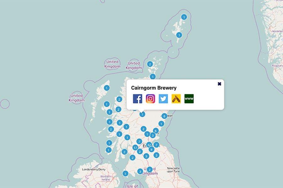 Scottish brewery map